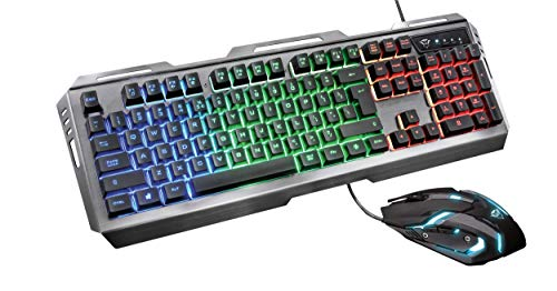 Trust Gaming GXT 845 Tural, Mouse + Tastiera, Combo da Gioco, Nero, Layout Italiano (QWERTY IT)