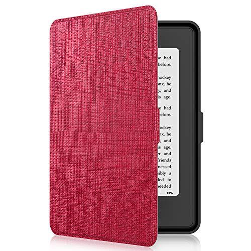 Tsing Kindle Paperwhite Custodia in Pelle Sintetica Chiusura Magnetica Ultra Sottile - Compatibile con de Kindle Paperwhite 1/2/3 (Red)