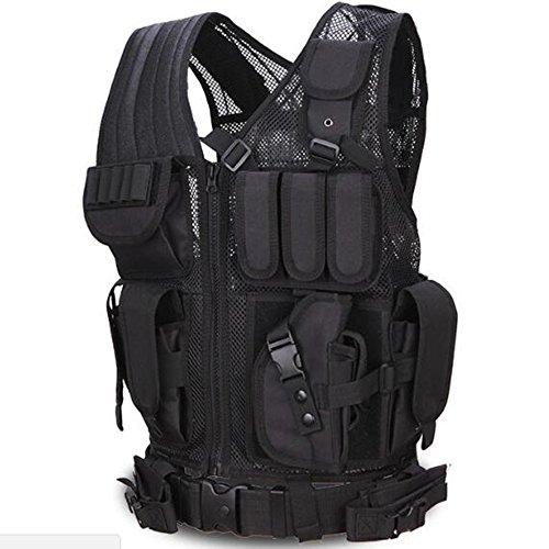Viktion-Gilet tattico con cerniera, attrezzatura di fornitura per polizia e militari, ottimo indumento per aria aperta, campeggio, escursionismo, parchi avventura e alpinismo, nero