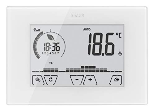 Vimar 02907 Termostato da Parete Programmabile, Touch Screen, Wi-Fi per Controllo Locale e Gestione Avanzata da App, Bianco