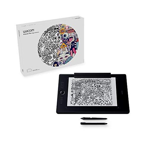 Wacom Intuos Pro Large Paper Edition Tavoletta Grafica con penna sensibile alla pressione / Funzione digitalizzazione per disegno su carta / Kit wireless incluso / Per Mac e PC / Nero