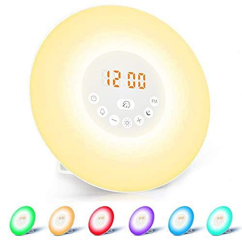 Wake-up Light, Massway Sveglia Luce Lampada da Comodino con Radio FM, Simulazione Alba/Tramonto Funzione Snooze Comando Touch, Dimmerabile 7 LED a Colori di Luce 6 Sveglia Suoni, Ricaricabile con USB