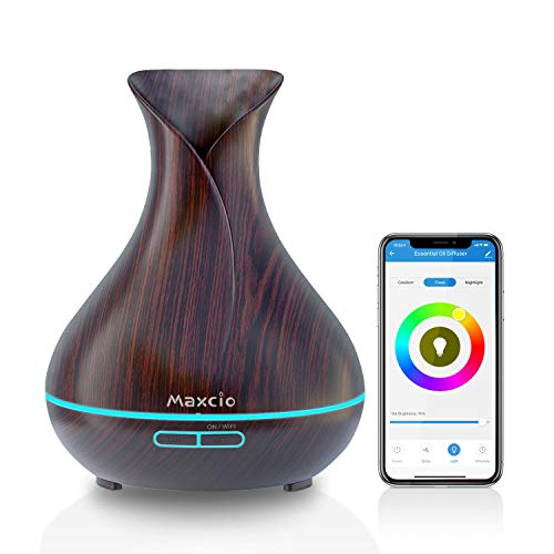 WiFi Diffusore Di aromi, Maxcio 400ML Profumatore Intelligente di Oli Essenziali Ad Ultrasuoni, Atomizzatore Elettrico, Timer, Funziona con Alexa/Google Home, Controllo Remoto,7 Colore LED
