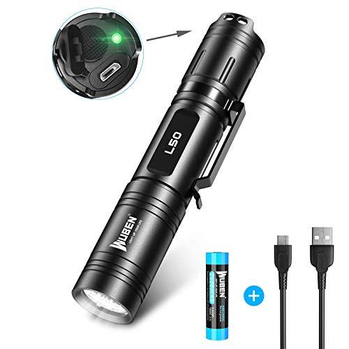 WUBEN Torcia LED Potente, Ricaricabili USB Super Luminosa 1200 lumen Impermeabile Portatile Militare Torcia, 5 modalità luce per Campeggio, uso di Emergenza, Garanzia di cinque anni