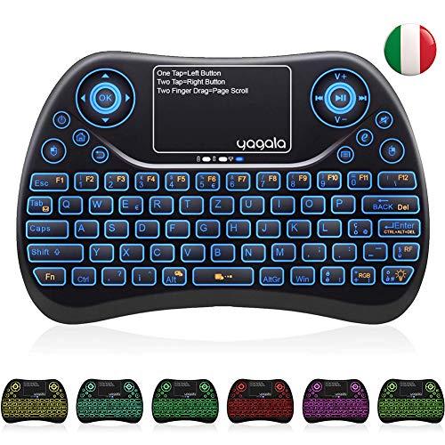 YAGALA Mini Tastiera Retroilluminata con 7 Colori, 2.4GHz Tastiera remota Portatile Wireless con Touchpad per Pad PC Android TV Box, Smart TV IPTV HTPC X360 [Layout Italiano]