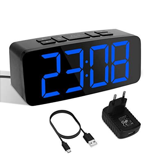 Yissvic Sveglia Digitale LED con Adattatore 6.3 Pollici Schermo Luminosità Regolabile Volume Regolabile Funzione Snooze