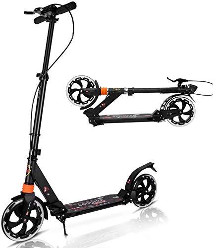 Yuanj Monopattino per Teenager/Adulto 2 Ruote Scooter, 3 Altezza Regolabile, Monopattino con Sistema Ammortizzatore Anteriore e Posteriore a Molla, Facile da Piegare, Scivola Liscio e Stabile