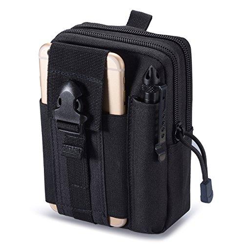 Zeato - Sacchetto tattico EDC, Utility gadget per cintura per telefono cellulare iPhone 6/6 Plus 7/7 Plus, Samsung Galaxy S8 S7 S6, LG, HTC e altri, Uomo, Black