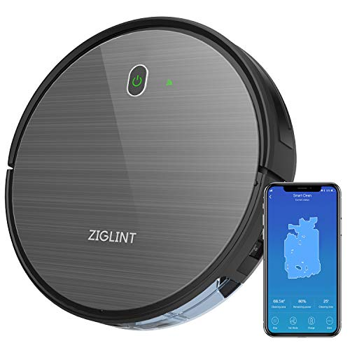 ZIGLINT Aspirapolvere Robot D5 1800Pa, App Controllo, Alexa e Google Home Connettività, 4 Modalità Di Pulizia Perfetta Per Pavimenti e Tappeti, Ottimo Per i Peli Degli Animali Domestici, Nero