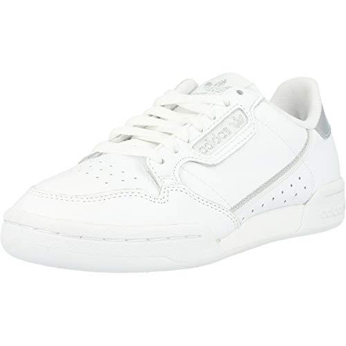 adidas Continental 80 W, Scarpe da Ginnastica Donna, Ftwr White/Ftwr White/Silver Met, 37 1/3 EU