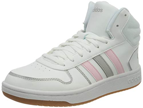 adidas Hoops 2.0 Mid, Scarpe da Basket Donna, Ftwr White/Clear Pink/Grey Two, 38 2/3 EU