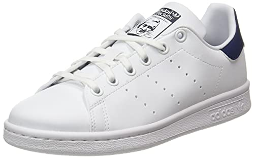 adidas Stan Smith J, Scarpe da Ginnastica, Ftwr White/Ftwr White/Dark Blue, 37 1/3 EU