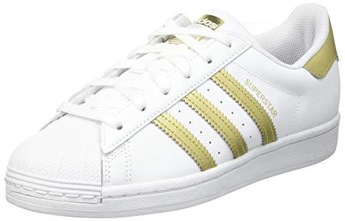 adidas Superstar W, Scarpe da Ginnastica Donna, Ftwr White/Gold Met./Ftwr White, 38 2/3 EU