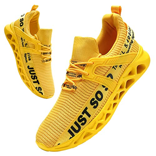 BUBUDENG Uomo Sneakers Scarpe Ginnastica Scarpe Ginnastica Running Trekking Palestra Uomo Sportive Offerta da Corsa Lavoro Moda Sneakers Walking Casual Running Shoes Gym Sport Tennis Shoes giallo EU45