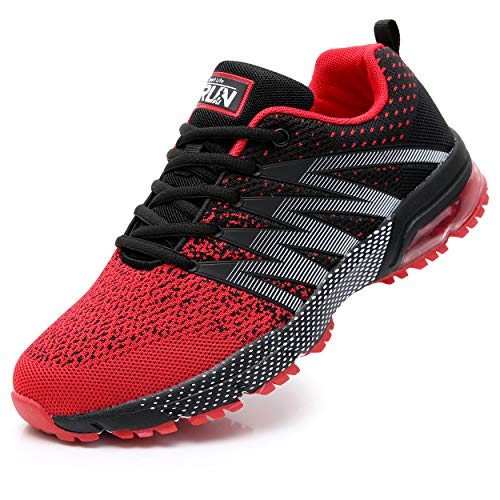 Fexkean Scarpe da Ginnastica Uomo Donna Corsa Sportive Sneaker Basse Running Outdoor Respirabile Fitness Casual (8995 Red 46)