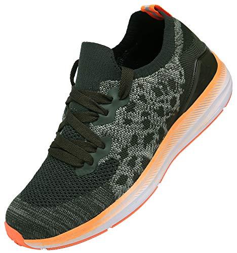 KOUDYEN Donna Uomo Scarpe da Ginnastica Corsa Running Sneakers Sportive Fitness Basse Casual,XZ581-Orange-EU39