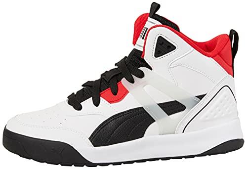 PUMA Backcourt Mid, Sneaker Unisex-Adulto, Bianco White Black-High Risk Red Silver, 41 EU