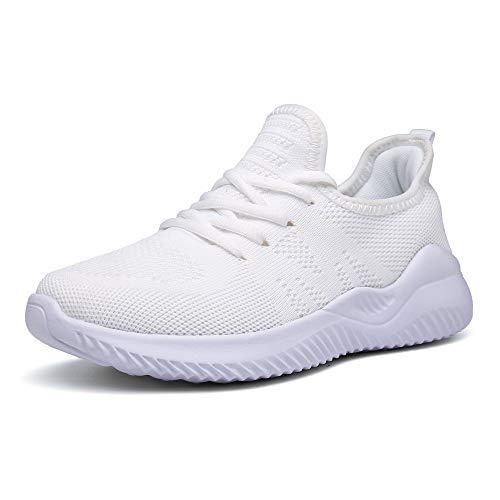Scarpe da Corsa Donna Running Scarpe Ginnastica Sportive Fitness Sneakers Leggero Bianca 38 EU