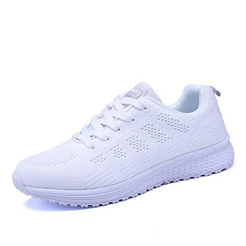 Scarpe Donna da Ginnastica Running Sports Sneaker da Fitness Allacciare Maglia Nero Blu Grigio Bianco Bianco 38