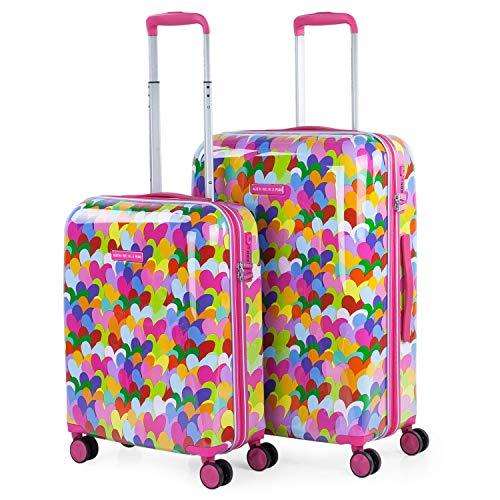 AGATHA RUIZ DE LA PRADA - Set di 2 valigie 4 ruote doppie girevole. Trolley in policarbonato stampato. Rigide e leggere. TSA integrato. Piccola e Mediana. Qualità e disegno. 131100, Color Fucsia