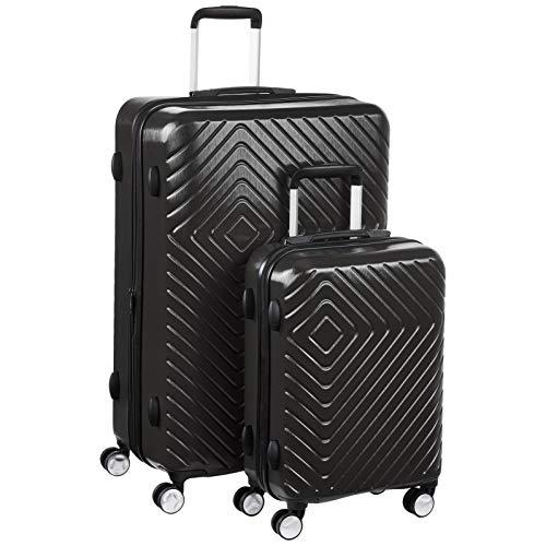 Amazon Basics - Trolley con motivo geometrico, Set da 2 pezzi (55 cm, 78 cm), Nero