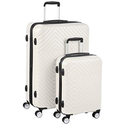 Amazon Basics - Trolley con motivo geometrico, Set da 2 pezzi (55 cm, 78 cm), Panna