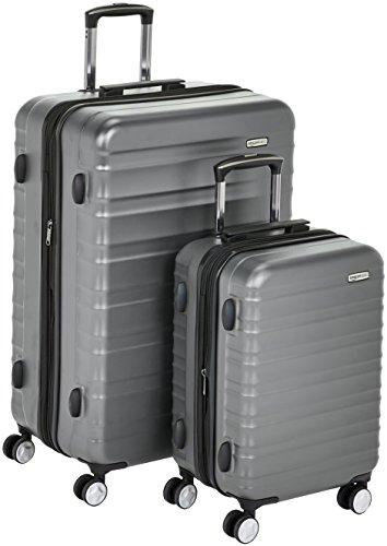 Amazon Basics - Trolley rigido premium, con rotelle pivotanti e lucchetto TSA integrato, Set da 2 pezzi (55 cm, 78 cm), Grigio