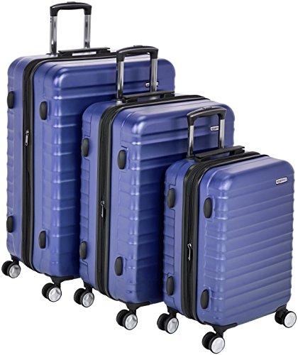 Amazon Basics - Trolley rigido premium, con rotelle pivotanti e lucchetto TSA integrato, Set da 3 pezzi (55 cm, 68 cm, 78 cm), Blu
