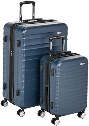 Amazon Basics - Trolley rigido premium, con rotelle pivotanti e lucchetto TSA integrato, Set da 2 pezzi (55 cm, 78 cm), Blu marino