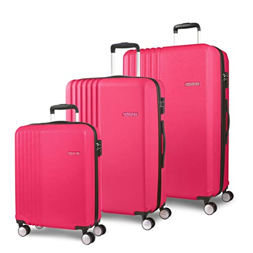 American Tourister Beachrider - Set di 3 Valigie, 78 cm, 99 l, Rosa (Pink)