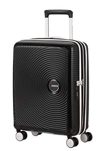 American Tourister Soundbox - Spinner S Espandibile Bagaglio a Mano, Spinner S (55 cm - 41 Litri), Nero (Black/White)