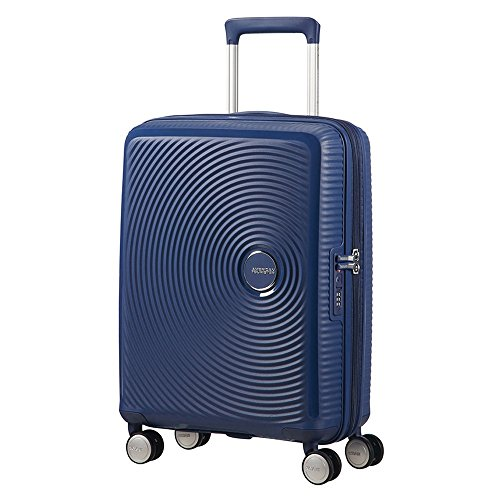 American Tourister Soundbox - Spinner S Espandibile Bagaglio a Mano, Spinner S (55 cm - 41 Litri), Blu (Midnight Navy)
