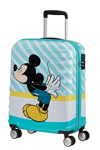 American Tourister Wavebreaker Disney - Spinner S Bagaglio a Mano, 55 cm, 36 L, Multicolore (Mickey Blue Kiss)