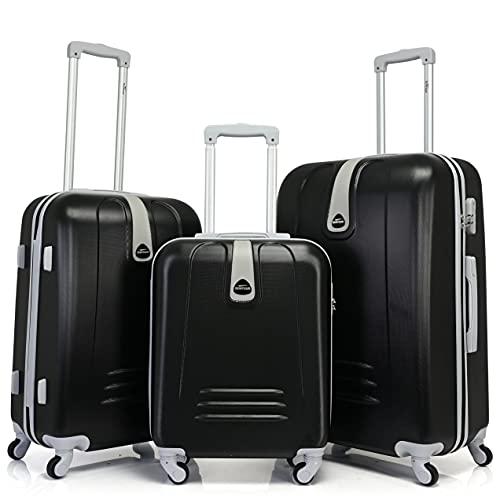 BONTOUR Set di Valigie Trolley da Viaggio Rigide, Suitcase Travel Luggage(Set 3 pezzi, Nero)