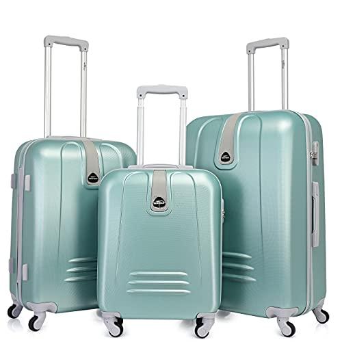 BONTOUR Trolley da Viaggio Classico con Custodia Rigida, Suitcase Travel Luggage(Set 3 pezzi, Verde Chiaro)