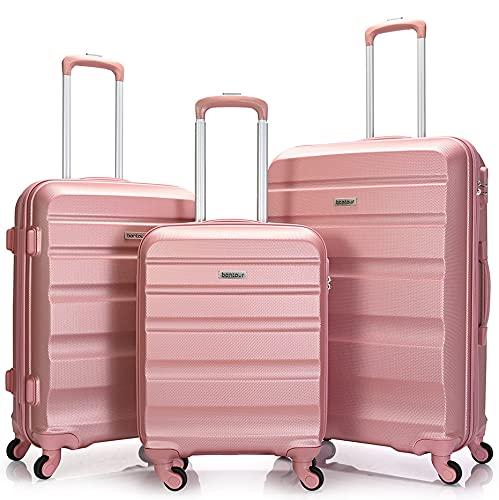 BONTOUR Valigia Trolley Rigida 4 ruote (Oro rosa, Set di 3)