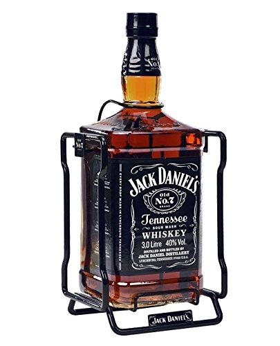 Bottiglia di Swing di 3 litri di Jack Daniel con la sua scatola in cartone di imballaggio.