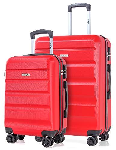CABIN GO 5572 Set da 2 Valigie Trolley rigidi in ABS, grande e piccola valigia con ruote, Idoneo Ryanair e Easyjet 55 cm e 69 cm, Bagaglio a Mano Rigido 55x40x20 Ultra Leggero in ABS con TSA