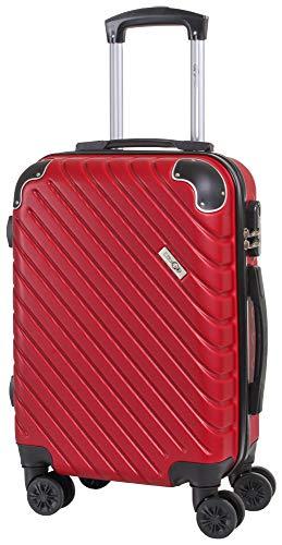 CABIN GO MAX 5510 Valigia Trolley ABS, bagaglio a mano 55x37x20, Valigia rigida, guscio duro e antigraffio con 8 ruote, Ideale a bordo di Ryanair, Alitalia, Air Italy, easyJet, Lufthansa BORDEAUX