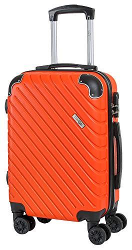 CABIN GO MAX 5510 Valigia Trolley ABS, bagaglio a mano 55x37x20, Valigia rigida, guscio duro e antigraffio con 8 ruote, Ideale a bordo di Ryanair, Alitalia, Air Italy, easyJet, Lufthansa (Arancio)