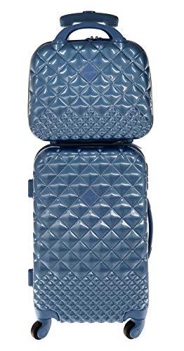 Camomilla MILANO Set Valigeria, Set di Valigie, Trolley da Viaggio (40 lt.) + Vanity Case (10 lt.), Materiale Rigido, Ruote Pivotanti, Chiusura Zip con combinazione, Colore Azzurro Cielo