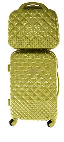 Camomilla MILANO Set Valigeria, Set di Valigie, Trolley da Viaggio (40 lt.) + Vanity Case (10 lt.), Materiale Rigido, Ruote Pivotanti, Chiusura Zip con combinazione, Colore Verde Lime