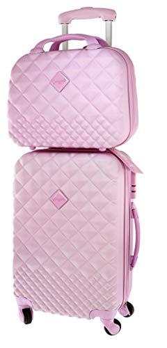 Camomilla MILANO Set Valigeria, Set di Valigie, Trolley da Viaggio (40 lt.) + Vanity Case (10 lt.), Materiale Rigido, Ruote Pivotanti, Chiusura Zip con combinazione, Colore Rosa