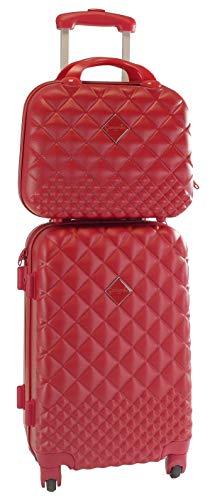 Camomilla MILANO Set Valigeria, Set di Valigie, Trolley da Viaggio (40 lt.) + Vanity Case (10 lt.), Materiale Rigido, Ruote Pivotanti, Chiusura Zip con combinazione, Colore Rosso