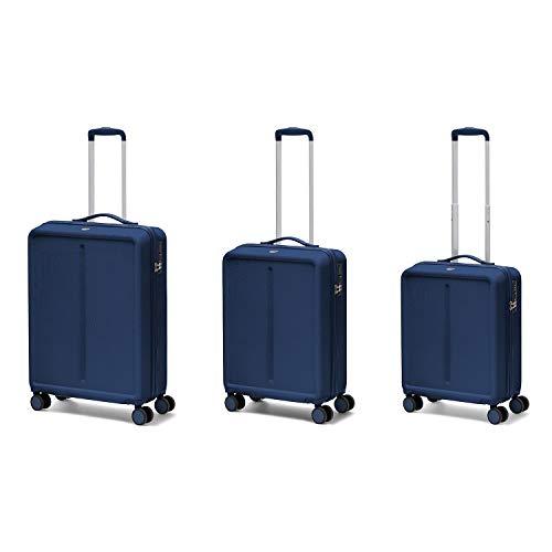 Ciak Roncato Set da 3 Trolley di 3 misure (L+M+S), Bagaglio Grande, Medio e Bagaglio a Mano, Collezione Infinity Blu Navy