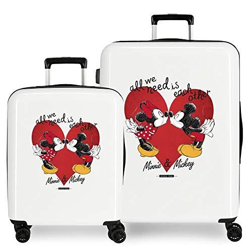 Disney Love - Set di valigie, colore: bianco, 55/68 cm, rigida ABS, chiusura TSA 119,4 l, 6 kg, 4 ruote doppie