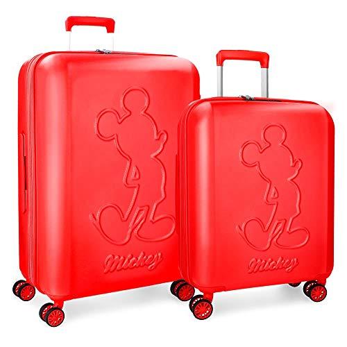 Disney Mickey Premium Set valigie Rosso 55/68 cms Rigida ABS Chiusura TSA 115L 4 doppie ruote Espandibile Bagaglio a mano