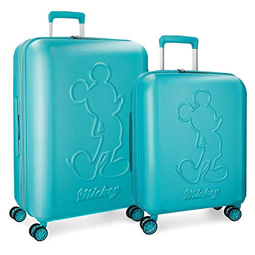 Disney Mickey Premium Set valigie Verde 55/68 cms Rigida ABS Chiusura TSA 115L 4 doppie ruote Espandibile Bagaglio a mano