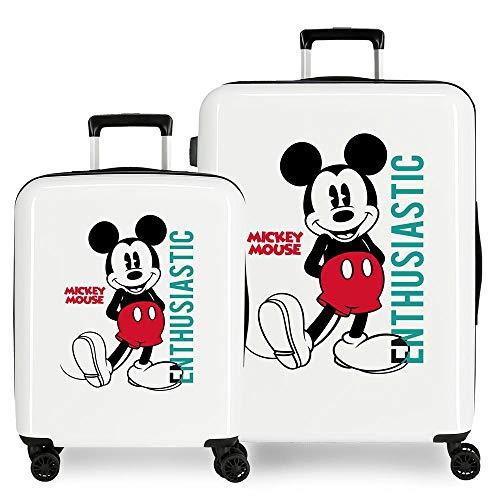 Disney Topolino Enthusiastic - Set di valigie, colore: bianco, 55/68 cm, rigida ABS, chiusura TSA 119,4 l, 6 kg, 4 ruote doppie