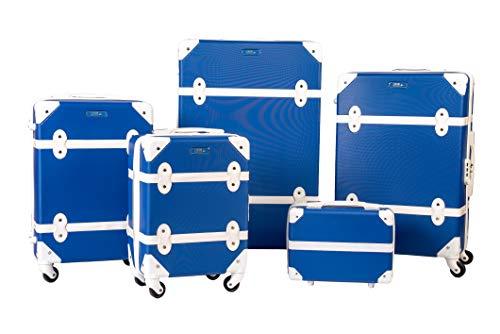 Enrico Coveri Moving Set Quattro Trolley + Beauty Case da Viaggio, Valigie Rigide ABS in Cinque Dimensioni (Blu)